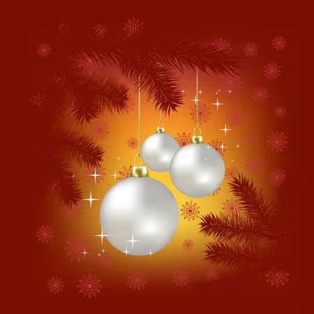 Christmas balls and snowflakes on a red background Stock Photo - 7833760