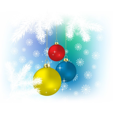 Christmas color spheres and snowflakes   background Stock Photo - 7833758