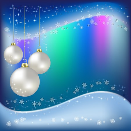 Christmas balls and snowflakes on a blue background Stock Photo - 7833759