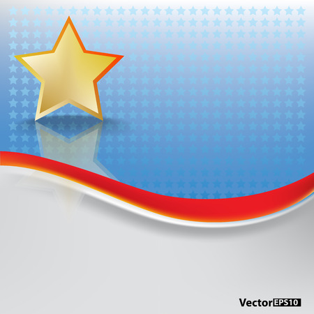 abstract background with gold star on blue Stock Vector - 8433454