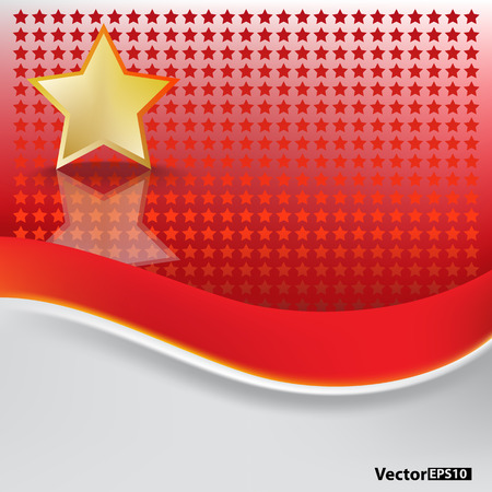 abstract background with gold star on red Stock Vector - 8433458