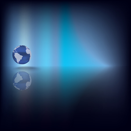 Abstract dark background with globe on blue Vector