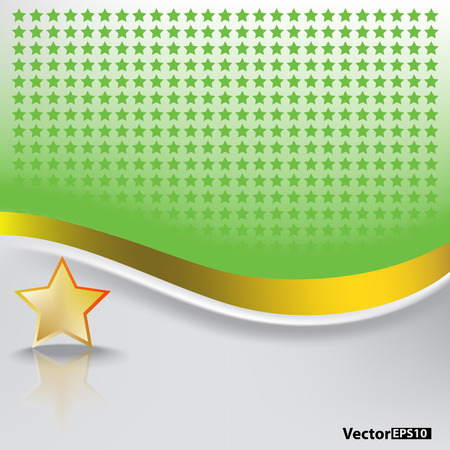 abstract green background with gold star on white Stock Vector - 8468807