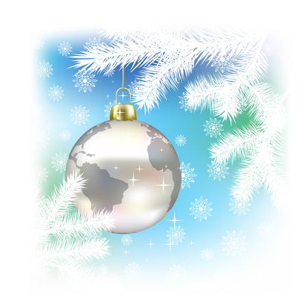 december holidays: Christmas background with planet on tree