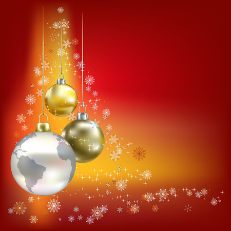 abstract globe: Christmas balls and planet red abstract background