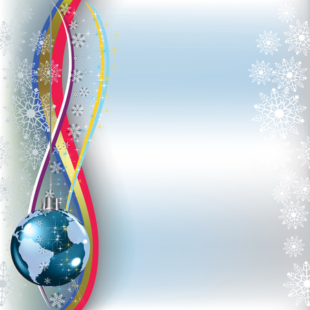 snow globe: christmas greeting planet earth on blue background Illustration