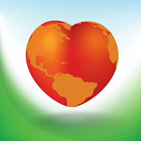amor al planeta: Valentines Day card with a heart shaped globe Vectores