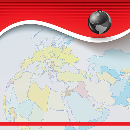 Abstract business red background with globe and earth map Vector