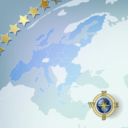 Fondo abstracto con mapa de Europa y compás