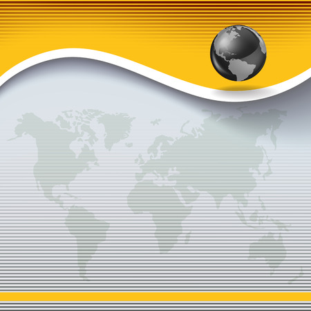 topography: Abstract business yellow background with globe and earth map