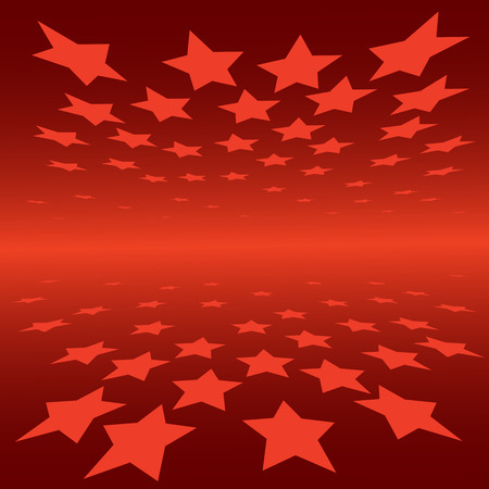spot lit: abstract background red stars with perspective effect