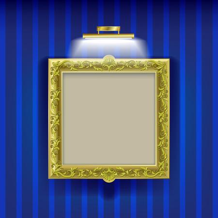 golden square frame with spotlight on blue wallpaper Vector