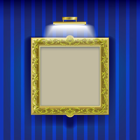 silver picture frame: golden square frame with spotlight on blue wallpaper