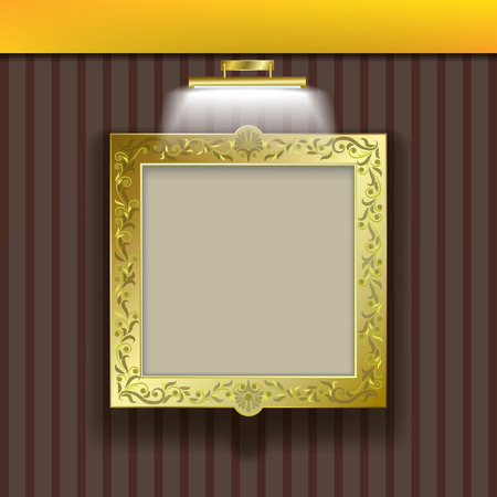 silver picture frame: golden square frame with spotlight on brown wallpaper