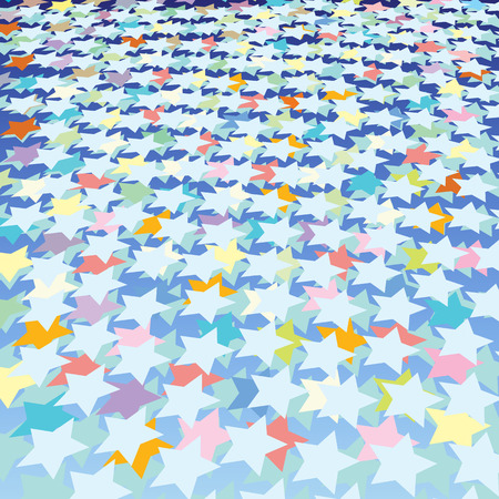 abstract background with color stars on blue Stock Vector - 8769395