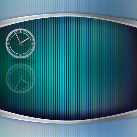 directly: abstract illustration with clock on striped background
