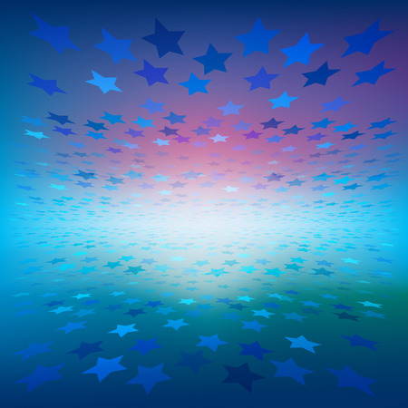 abstract illustration with color stars on blue background Illustration