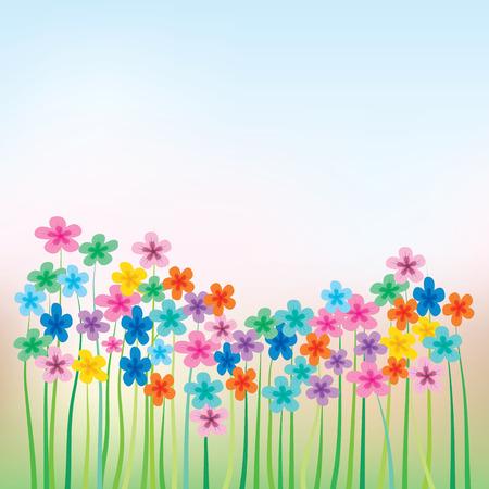 abstrakt blumen Abbildung mit Blumen und Gras