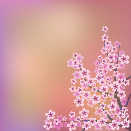 abstract floral illustration with pink flowers on color background Vector