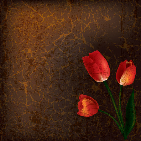 abstract grunge illustration with red tulips on brown background