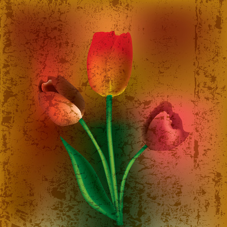 abstract grunge illustration with red tulips on cracked background Stock Vector - 8953225