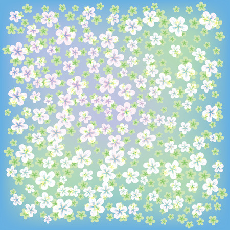 abstract floral background with small flowers on blue Stock Vector - 8984193