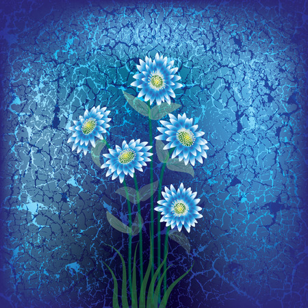 abstract floral illustration with blue flowers on cracked background Vector