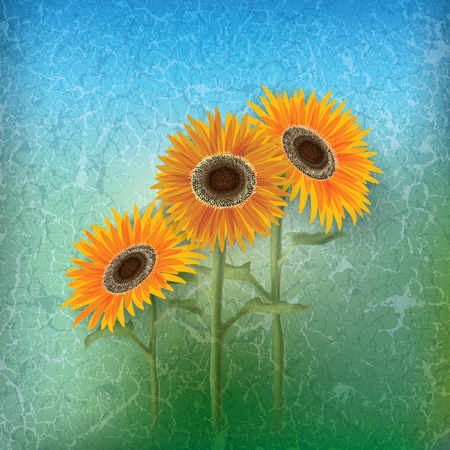 abstract floral illustration with sunflowers on blue Vector