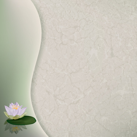 abstract floral illustration with white lotus on green Vector