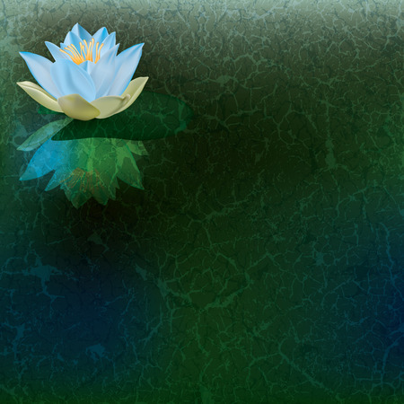 garden pond: abstract floral illustration with blue lotus on green Illustration