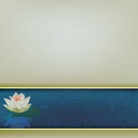 Ilustración floral abstracto con lotus blanco en azul Ilustración de vector