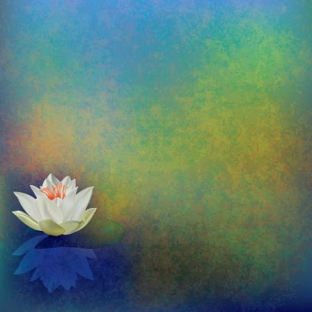 reflectie water: abstract floral illustratie met lotus op groene achtergrond Stock Illustratie