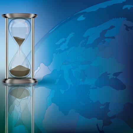 horas: Ilustraci�n abstracto con globo y el reloj de arena en azul