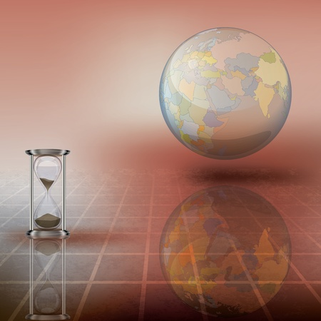 abstract illustration with globe and hourglass on brown Vector
