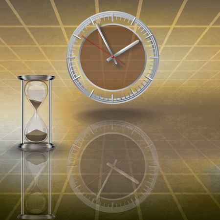 glisten: abstract illustration with clock and hourglass on brown Иллюстрация