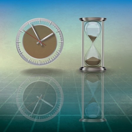 time square: abstract grunge illustration with hourglass and clock on blue