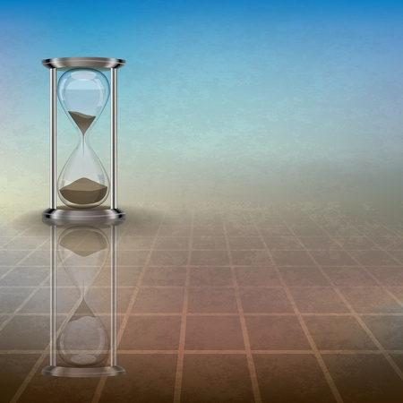 sand timer: abstract grunge illustration with hourglass on blue