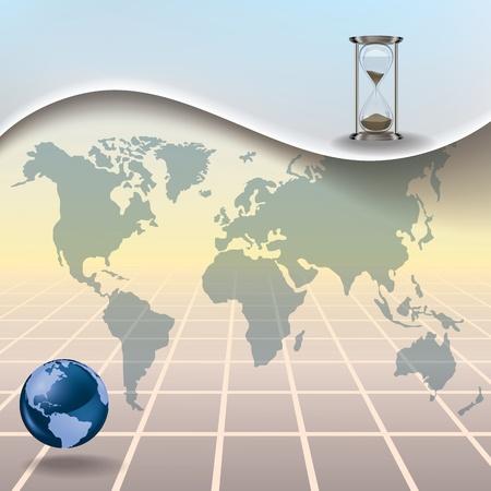 illustrazione busines astratto con la mappa della terra clessidra