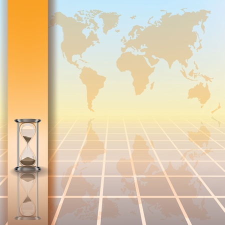sand asia: abstract color illustration with hourglass and earth map