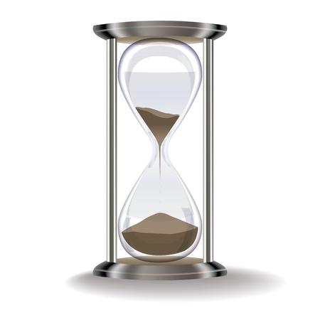 puntualidad: antiguo reloj de arena aislado en un fondo blanco