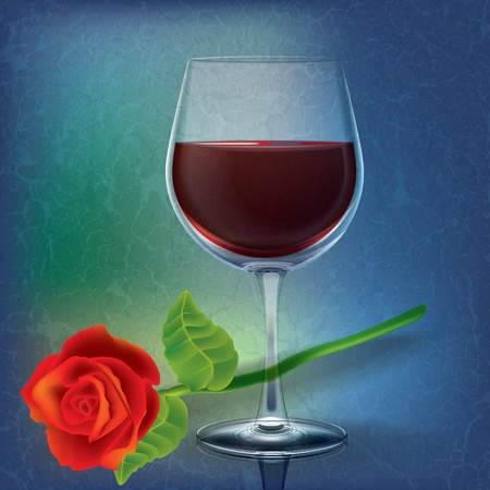 winetasting: abstract grunge illustration with wineglass and rose on blue Illustration