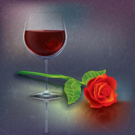 abstract grunge illustration with wineglass and rose Vector