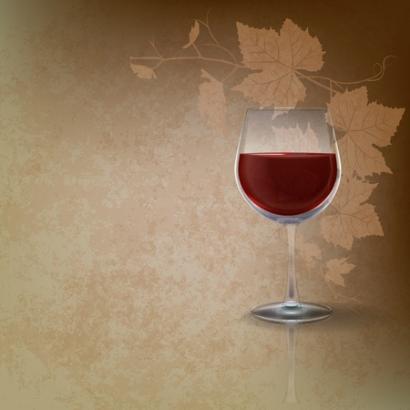 purple grapes: abstract grunge illustration with wineglass on brown Illustration