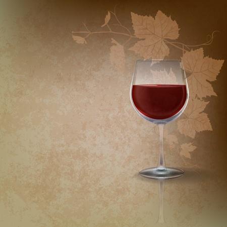 sun glass: Ilustraci�n de grunge abstracto con wineglass de brown