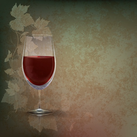 purple glasses: abstract grunge illustration with wineglass on green