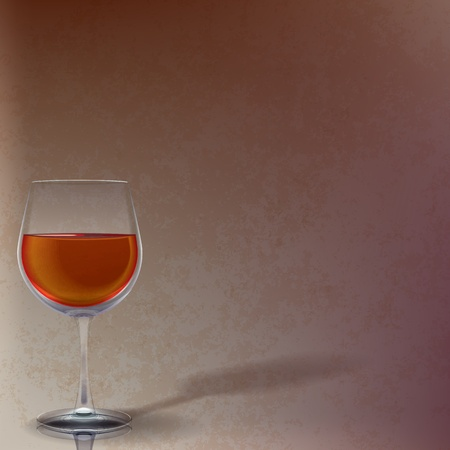 winetasting: abstract illustration with wineglass on brown background