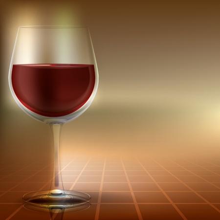 Abstrakte Illustration mit Weinglas auf farbigem Hintergrund Standard-Bild - 9178474