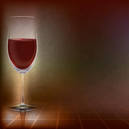 winetasting: abstract illustration with wineglass on dark background Illustration