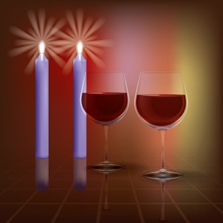 abstract illustration with candles and wineglass on dark background Vector