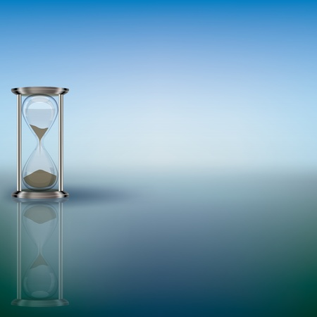 hourglass: abstract illustration with hourglass on blue background